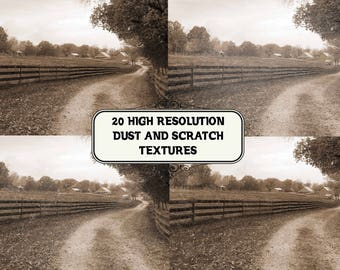 Buy 3 get one free. 20 High Resolution Dust and Scratch Textures, Instant Download.
