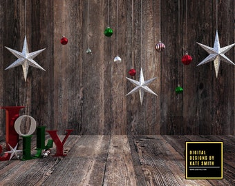 Jolly Christmas Digital Backdrop / Background, High Resolution 300ppi. Instant Download.