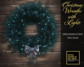 Christmas Wreaths with Lights Overlays, Separate PNG Files, High Resolution, Instant Download, CUOK.