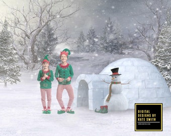 Elf's Igloo Digital Backdrop / Background, High Resolution, Instant Download, Buy 3 get 1 free, CUOK.
