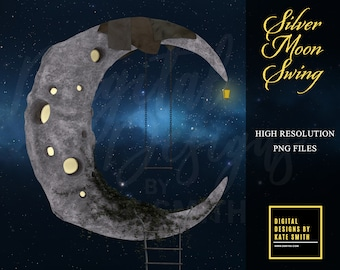 Silver Moon Swing Overlays, 6 Different Versions, Separate PNG Files, High Resolution, Instant Download, Buy 3 get 1 free, CUOK.