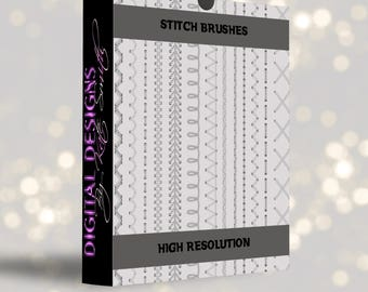 Buy 3 get one free. 20 Stitch Brushes for Photoshop, High Resolution ABR Files, Instant Download.