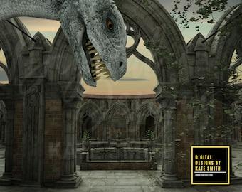 Pet Dragon Digital Backdrop / Background, High Resolution, Instant Download, Buy 3 get 1 free.