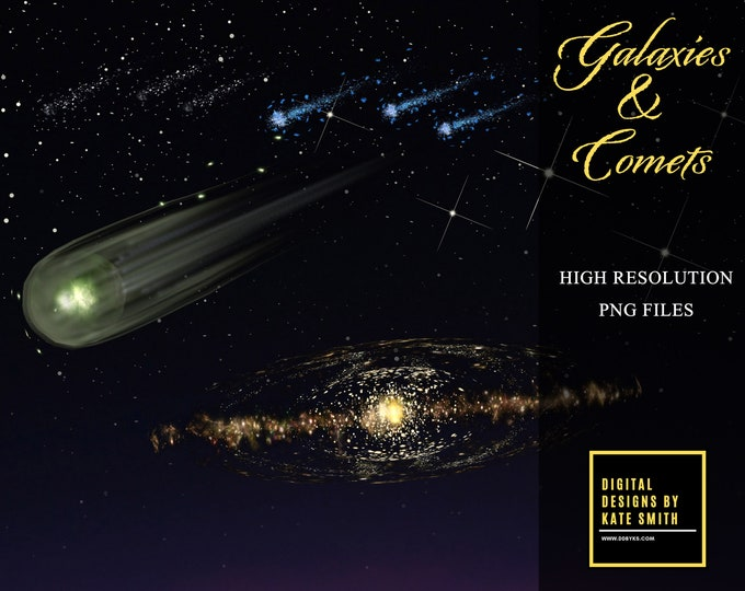 Galaxies and Comets Overlay Pack, Separate PNG Files, Instant Download, CUOK.