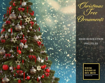 Assorted Christmas Tree Ornaments, Separate PNG Files, High Resolution, Instant Download, CUOK.