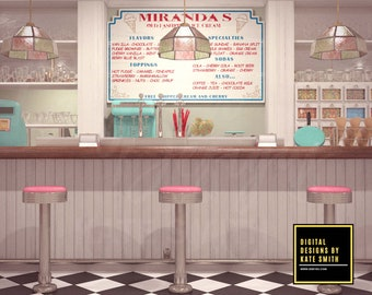 Ice cream Parlour Digital Backdrop / Background, High Resolution, Instant Download, Buy 3 get 1 free, CUOK.