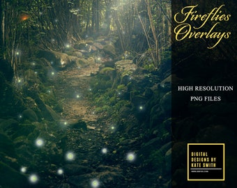 6 x Firefly Overlays, Pink and Green Fireflies, Photoshop Effects, Instant Download. CUOK, Buy 3 get 1 free.