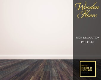 Wooden Floor Overlays, Separate PNG Files, High Resolution, Instant Download, CUOK.