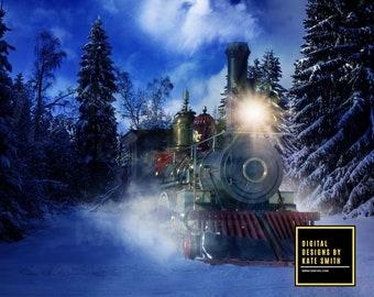 Polar Express Digital Backdrop / Background, High Resolution 300ppi. Instant Download.