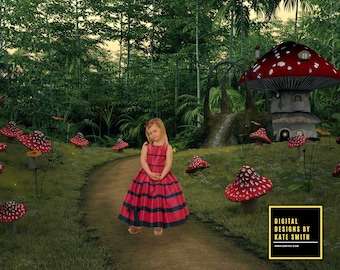 Enchanted Path Digital Backdrop / Background, High Resolution, Instant Download, Buy 3 get 1 free, CUOK.