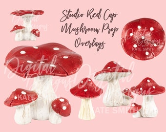 Studio Red Cap Mushroom Props Overlays, High Resolution PNG Files with Transparent Backing, Instant Download, CUOK.