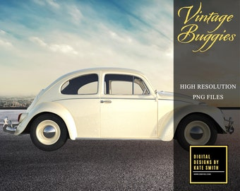 Vintage Buggy Overlays, Separate PNG Files, High Resolution, Instant Download, Buy 3 get 1 free, CUOK