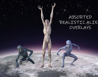 20 Assorted Realistic Alien Overlays, Separate PNG Files, High Resolution, Instant Download, Buy 3 get 1 free, CUOK.