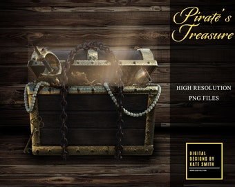 Pirates Treasure Overlays, Separate PNG Files, High Resolution, Instant Download, Buy 3 get 1 free, CUOK.