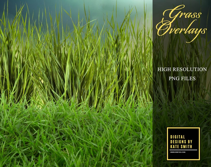 Grass Overlays, Separate PNG Files, High Resolution, Instant Download, CUOK.