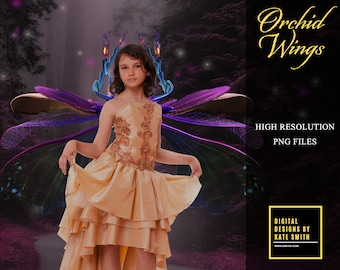 20 Elegant Orchid Wings Overlays, Separate PNG Files, High Resolution, Instant Download. CUOK