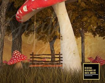 Enchanted Mushroom Swing Digital Backdrop / Background, High Resolution, Instant Download, Buy 3 get 1 free, CUOK.