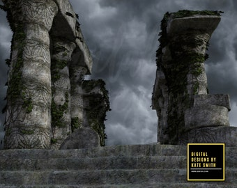 2 x The Ruins Digital Backdrops / Backgrounds, High Resolution, Instant Download. Buy 3 get 1 free.