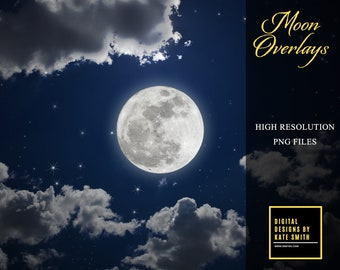 Buy 3 get one free. Full Moon Overlays, Separate Png Files, High Resolution, Instant Download.