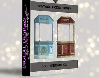 Buy 3 get one free. Old Vintage Ticket Booth Overlays, Separate PNG Files, High Resolution, Instant Download.