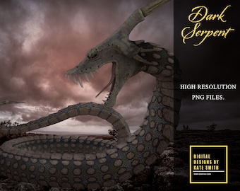 The Dark Serpent Overlays, Separate PNG Files, High Resolution, Instant Download, CUOK.