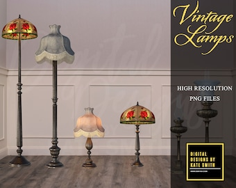 Vintage Lamp Overlays, Separate PNG Files, High Resolution, Instant Download, Buy 3 get 1 free, CUOK.