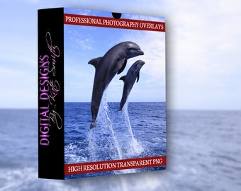 Buy 3 get one free.12 x Dolphin Overlays, Separate PNG Files, High Resolution, Instant Download.