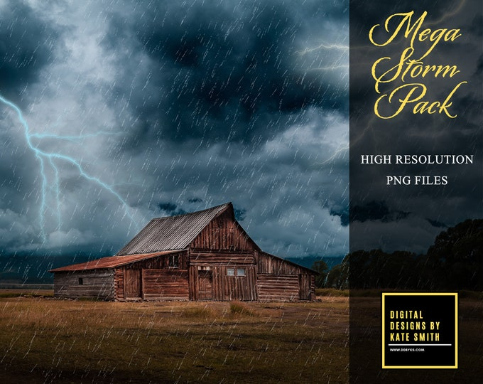 Mega Storm Pack Overlays, Tornado, Rain, Lightning and Clouds, Separate PNG Files, High Resolution, Instant Download. Buy 3 get 1 free.