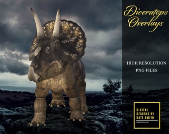 Diceratops Overlays, Separate PNG Files, High Resolution, Instant Download, CUOK.