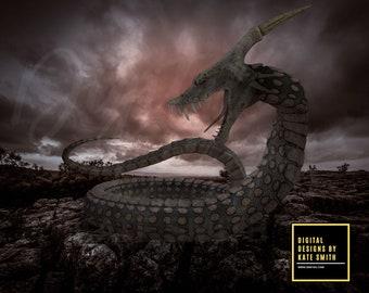 Dark Serpent Digital Backdrop / Background, High Resolution, Instant Download, Buy 3 get 1 free.