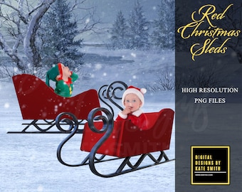 Red Christmas Sled Prop Overlays, Separate PNG Files, High Resolution, Instant Download, CUOK. Buy 3 get 1 FREE!