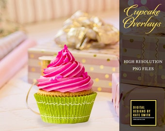 Assorted Real Cupcake Overlays, Separate PNG Files, High Resolution, Instant Download, CUOK.