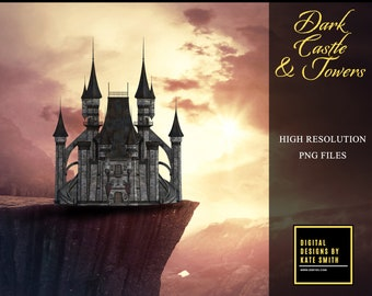 Dark Castle Overlays, Separate PNG Files, High Resolution, Instant Download. CUOK Buy 3 get 1 free.