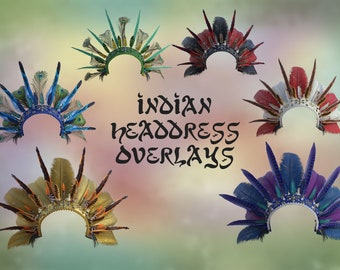 20 Indian Headdress Overlays, Separate Png Files, High Resolution, Instant Download, Buy 3 get 1 free, CUOK.