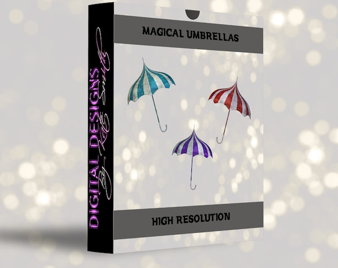Buy 3 get one free. Magical Umbrella Overlays, Separate PNG Files, High Resolution, Instant Download.