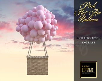 Pink Hot Air Balloon Prop, High Resolution Png File, Instant Download, CUOK. Buy 3 get 1 FREE!