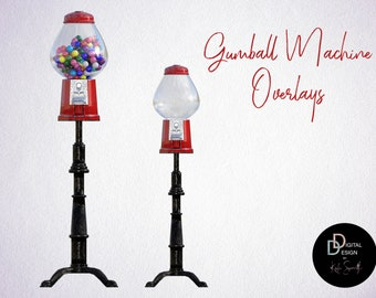 2 Gumball Machine Overlays, One Empty & One Full, High Resolution, Instant Download.