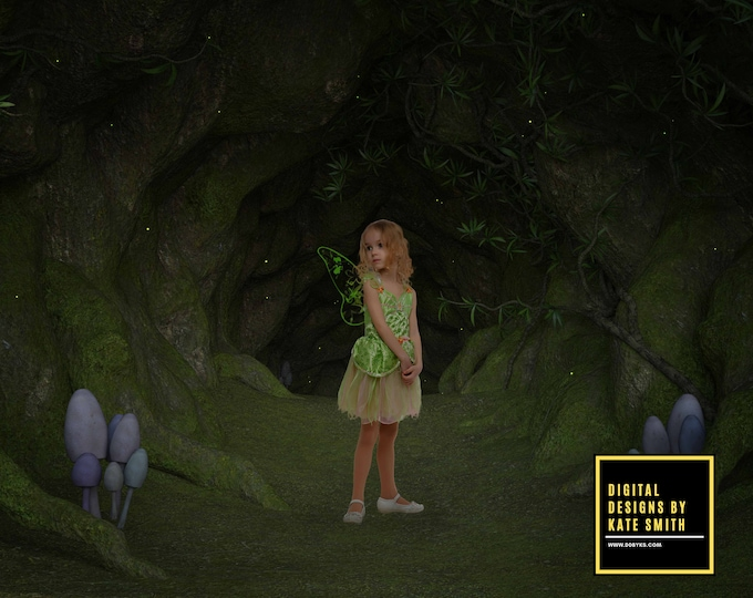 Hidden Fairy Cave Digital Backdrop / Background, High Resolution, Instant Download, Buy 3 get 1 free, CUOK.
