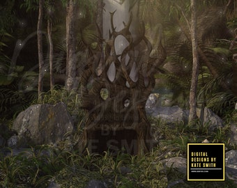 Forest Throne Digital Backdrop / Background, High Resolution, Instant Download, Buy 3 get 1 free.