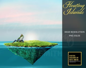 Buy 3 get one free. Floating Island Overlays, Separate PNG Files, High Resolution, LARGE FILES, Instant Download.