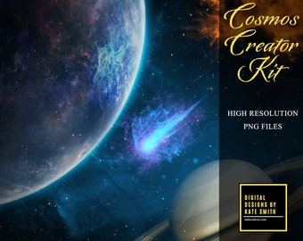 Cosmos Creator Kit, Over 100 Overlays to create your own Space design, Commercial Use OK, High Resolution, Instant Download.