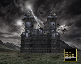 The Abandoned Asylum with PNG Broom, Digital Backdrop / Background, High Resolution, Instant Download, Buy 3 get 1 free, CUOK.