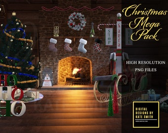 Christmas Mega Pack Overlays, Over 50 Overlays, Separate PNG Files, High Resolution, Instant Download, CUOK.