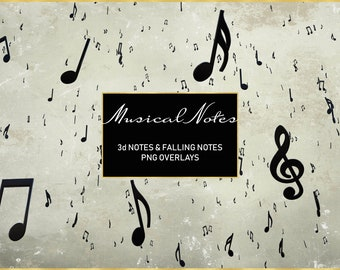 Musical Notes Overlays, Separate PNG Files, High Resolution, Instant Download, Buy 3 get 1 free, CUOK.