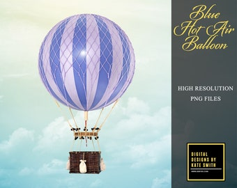 Blue Hot Air Balloon Prop Overlay, Extra Large File, High Resolution, Great For Newborns and Kids, Instant Download, CUOK.