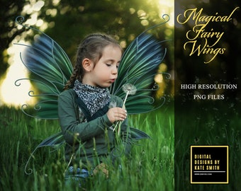 40 Magical Fairy Wings Overlays, Separate PNG Files, High Resolution, Instant Download, CUOK.