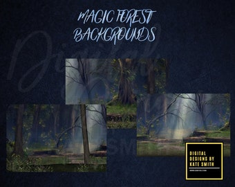 3 Magic Forest Backdrops / Backgrounds, High Resolution 300ppi, Instant Download.