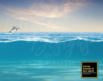 Open Water Digital Backdrop / Background, High Resolution, Instant Download, Buy 3 get 1 free.
