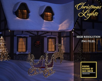 Beautiful Christmas Light Overlays, Transparent Backing, Separate PNG Files, High Resolution, Instant Download. Large Files, CUOK.