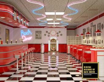 Retro Diner Digital Backdrop / Background, High Resolution, Instant Download, Buy 3 get 1 free, CUOK.